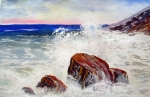 'Granite And The Sea'  11x17  watercolor by D.Morin, sold  tastefully framed and matted
