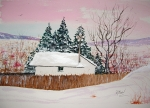 'The Toolshed' 13.5x19 watercolor by D.Morin, sold tastefully framed and matted.