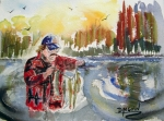 'Glenn' watercolor by D.Morin 9x12 courtesy D.Wylie.