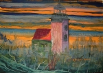 'Sunrise, Deer Isle Light' by D.Morin 14x19 watercolor, courtesy M.Curran.