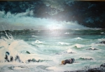 'Surviving The Atlantic' oil on masonite 24x36 by D.Morin courtesy HJM collection.