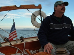 Photograph of artist Daniel Morin taken by Andrew Morin while sailing the Atlantic.