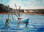 'Winter Harbor From The Sea' watercolor by D.Morin.