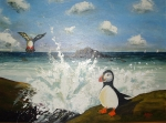 'The Puffins Of Matinicus Rock' oil on canvas board 16x24 courtesy HJM collection