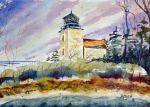 'Deer Island Light' watercolor by D.Morin courtesy D.Curran.